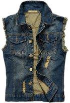 K3K New Mens Fashion Broken Holes Sleeveless Denim Concealed Carry Vest