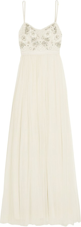 Needle & Thread Embellished Crepe And Tulle Bridal Gown