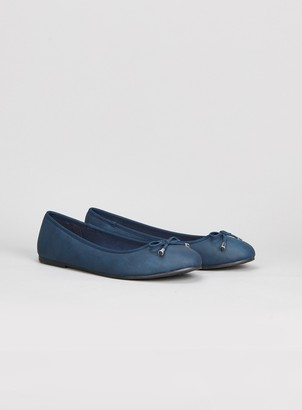 Evans EXTRA WIDE FIT Navy Blue Bow Ballet Pumps