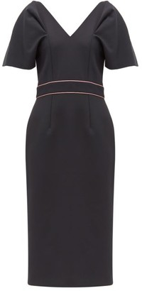 Roksanda Tiana Puff-sleeve Crepe Midi Dress - Womens - Navy Multi