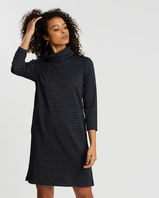 Sportscraft Women's Navy Long Sleeve Dresses - Amber Check Dress - Size One Size, 14 at The Iconic