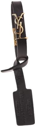 Saint Laurent Opyum Woman Bracelet In Black Leather With Golden Logo