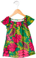 Milly Girls' Floral Print Short Sleeve Top