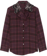 Marc Jacobs Pussy-bow Embellished Checked Silk Blouse - Plum