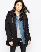 Only Hooded Parka Jacket With Contrast Buttons