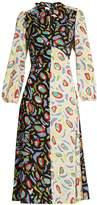 DURO OLOWU Abstract bird-print tie-neck crepe dress