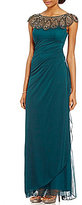 Xscape Evenings Beaded Illusion Neck Ruched Gown