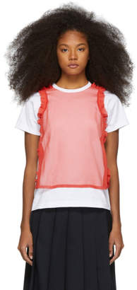 Comme des Garcons White and Red Jersey Georgette T-Shirt