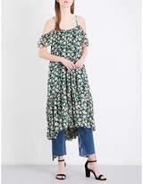 Claudie Pierlot Rafaela cold shoulder floral-print chiffon dress