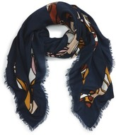 Tory Burch Women's Logo Print Square Wool Scarf
