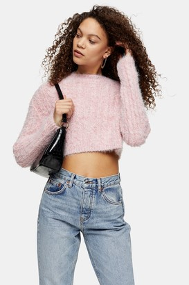 Topshop PETITE Pink Fluffy Cable Crop Knitted Sweater