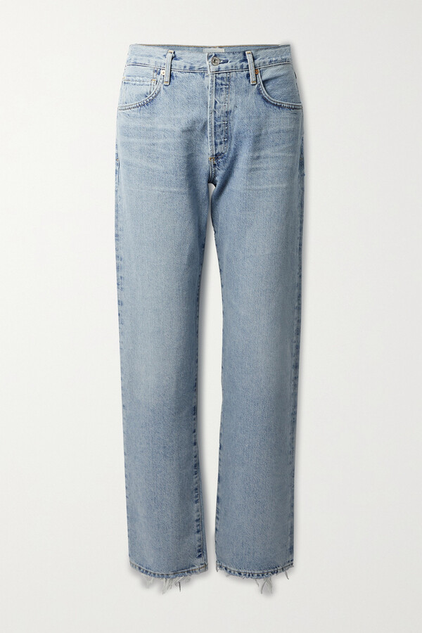 Citizens of Humanity Emery Distressed High-rise Straight-leg Jeans - Blue