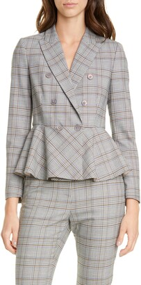 Rebecca Taylor Tailored by Plaid Peplum Jacket