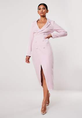 Missguided Lilac Long Sleeve Midi Blazer Dress