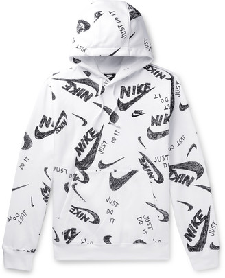 Nike Logo-Print Fleece-Back Cotton-Blend Jersey Hoodie