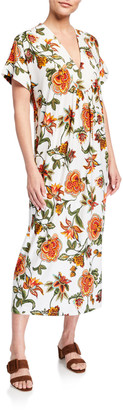 Melissa Masse Floral-Print V-Neck Brushed Jersey Maxi Tunic Dress