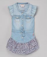 Juicy Couture Blue & Cheetah Cap-Sleeve Dress Set - Girls