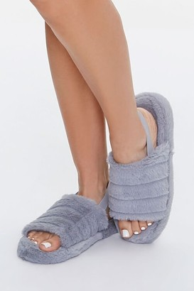 Forever 21 Faux Fur Open-Toe Indoor Slippers