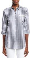 Lafayette 148 New York Gingham Check 3/4-Sleeve Shirt
