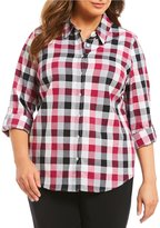 Allison Daley Plus Long Roll-Tab Sleeve Buffalo Plaid Button Front Shirt