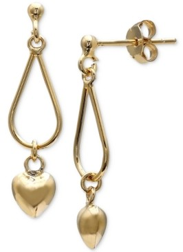 Giani Bernini Heart Dangle Drop Earrings in 18k Gold-Plated Sterling Silver, Created for Macy's