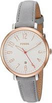 Fossil Women's ES4032 Jacqueline Three-Hand Date Gray Leather Watch