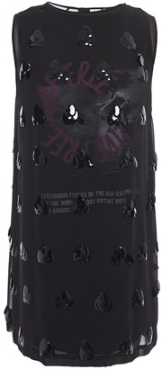 McQ Layered Embellished Georgette And Printed Stretch-cotton Jersey Mini Dress