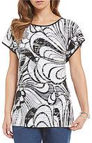 Allison Daley Petites Wide Crew-Neck High-Low Hem Printed Tunic