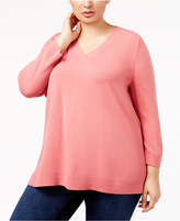 Karen Scott Plus Size Luxsoft V-Neck Sweater, Created for Macy's