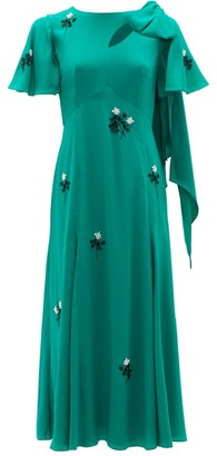 Erdem Kirstie Floral-beaded Bias-cut Silk Dress - Green