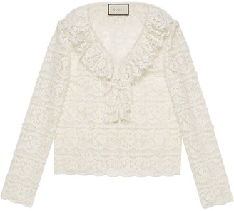 Gucci Cotton Blend Ruffled Floral Lace Blouse