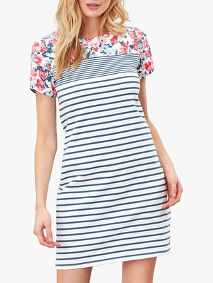 Joules Riviera Floral Print Striped Short Sleeve Jersey Dress, Cream Border Print