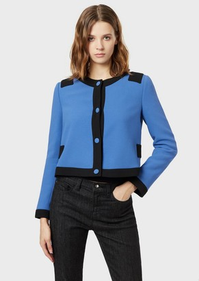 Emporio Armani Cady Crepe Jacket With Contrasting Edges