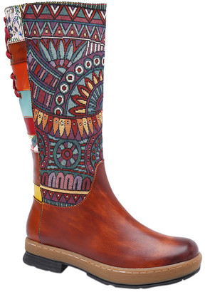 Soffia Women's Casual boots Multi - Brown Geometric Lace-Up Back Leather Boot - Women