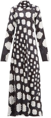 Marni High Neck Pixel Print Satin Maxi Dress - Womens - Black White