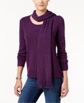 Karen Scott Luxsoft Embellished Scoop-Neck Sweater, Only at Macy's