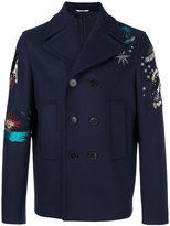Valentino tattoo embroidered peacoat - men - Cotton/Polyester/Cupro/Wool - 46