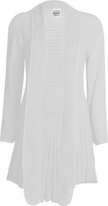 GirlsWalk Women's Plain Crochet Knitted Waterfall Cardigan Sweater Top - White - Medium
