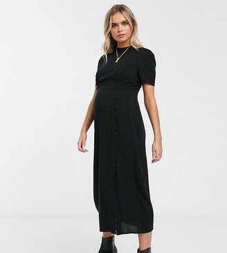 ASOS DESIGN Maternity midi tea dress with buttons and split detail in black