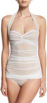 Norma Kamali Bill Mio Halter One-Piece Swimsuit, White