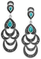 Macy's Manufactured Turquoise & Marcasite Scalloped Dangle Drop Earrings
