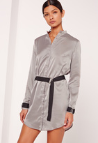 Missguided D Ring Detail Shift Dress Silver