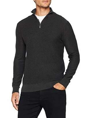 Burton Menswear London Men's Textured Half Zip Jumper Long Sleeve Top Medium (Size:M)