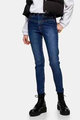 Topshop Womens Rich Biker Jamie Skinny Jeans - Brown