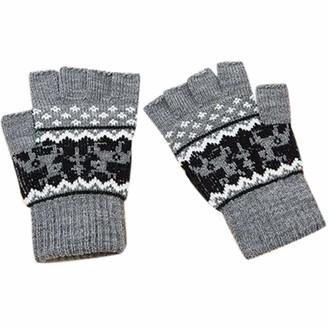 Xmiral Gloves Women Half Finger Elk Animal Knitted Soft Warm Mitten(Grey)