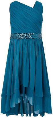 Monsoon Girls Abigail One Shoulder Prom Dress - Teal