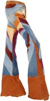 Roberto Cavalli Patchwork Denim, Suede & Leather Jeans