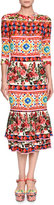 Dolce & Gabbana Maiolica-Print Elbow-Sleeve Midi Dress, Pink/Multi