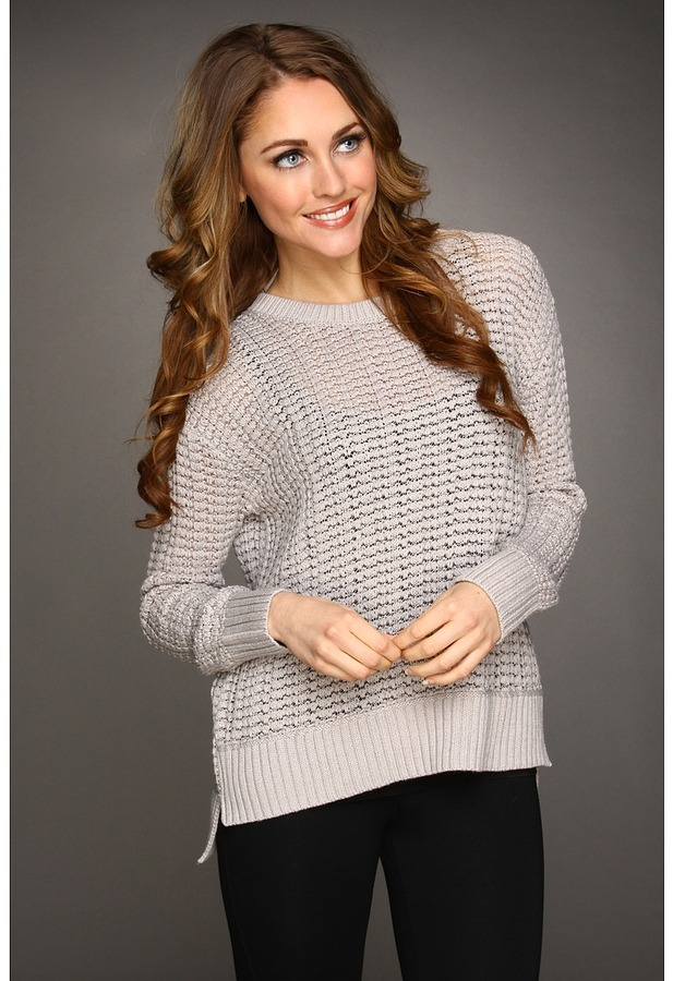 Calvin Klein Jeans Luxe Touch Seedstitch Slouchy Sweater (Platinum Ice) - Apparel
