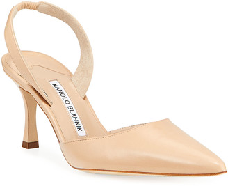Manolo Blahnik Carolyne Leather Mid-Heel 70mm Halter Pumps